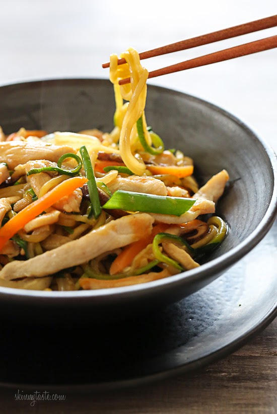 A lighter Lo Mein using zucchini noodles in place of pasta –under 300 calories!