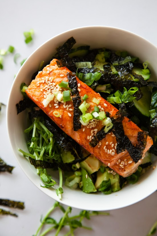 Wild salmon over brown rice with a Soy Wasabi dressing –healthy and DELICOUS!
