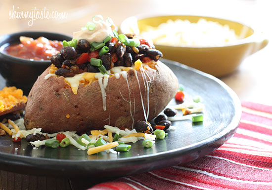 Loaded Vegetarian Baked Sweet Potato – and easy 20 minute meal!