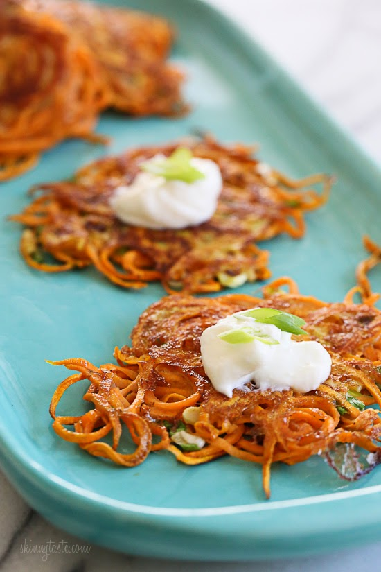 Spiralized Sweet Potato Latkes - a healthier sweet potato pancake!