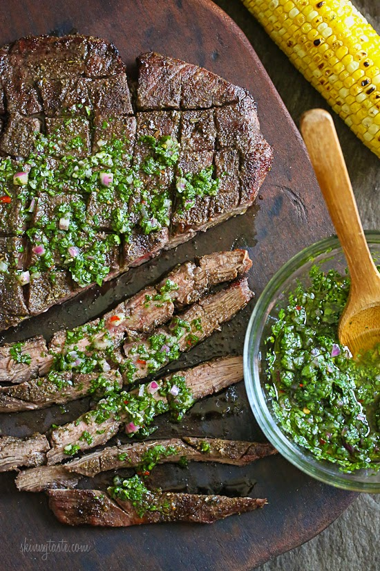 Grilled Flank Steak with Chimichurri – this is the BEST Chimichurri recipe ever!