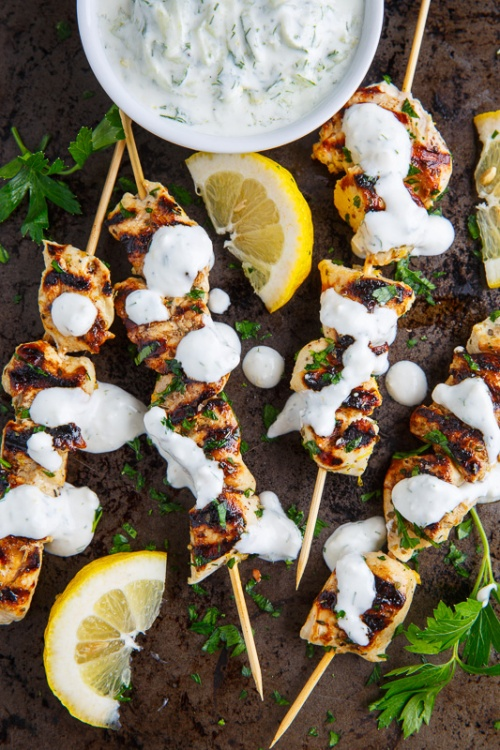 Grilled Chicken Souvlaki with Tzatziki Sauce