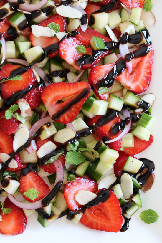 Strawberry Cucumber Salad – drizzled with balsamic glaze, an easy, light summer salad.