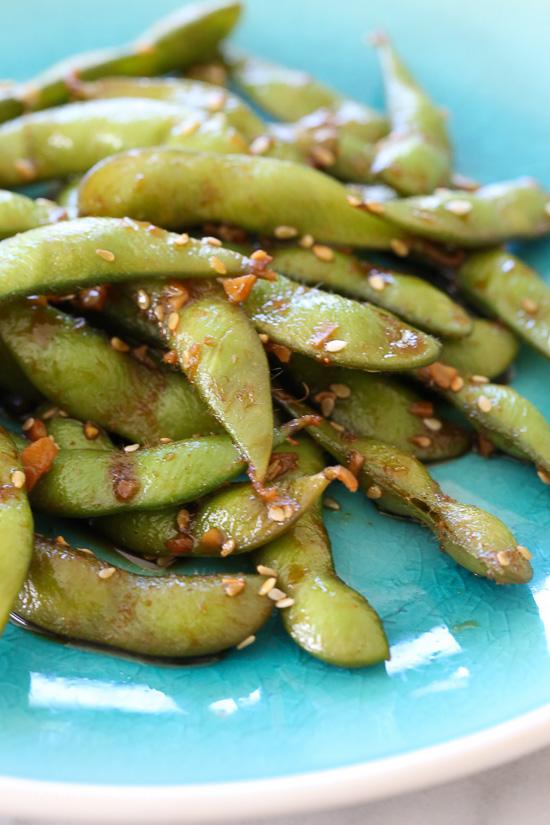 Spicy Garlic Edamame –extremely addicting!