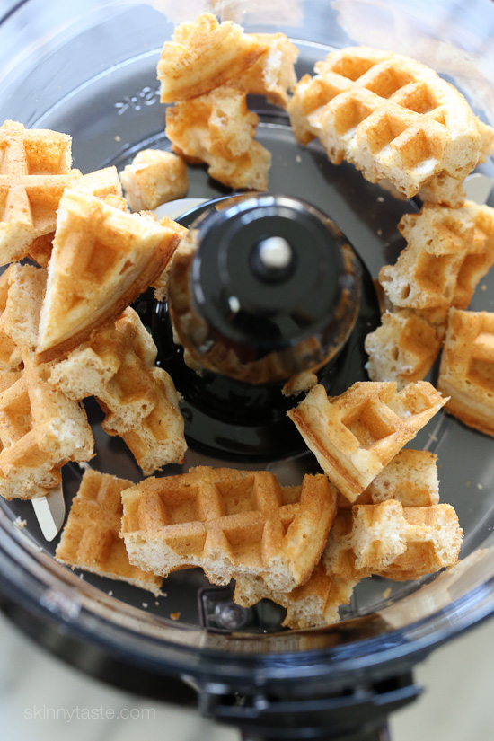 Waffle Crusted Chicken with Spicy Maple Sauce –a healthier twist on chicken and waffles!