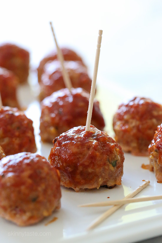 Sweet 'n Spicy Turkey Meatballs with Bacon and BBQ Sauce – perfect game day appetizer!