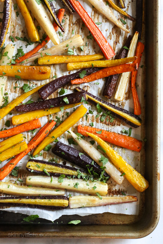 Roasted Rainbow Carrots with Ginger –an easy, colorful side dish.