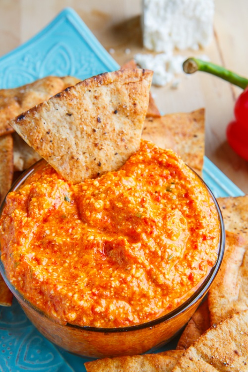 Htipiti (Greek Roasted Red Pepper and Feta Cheese Dip)