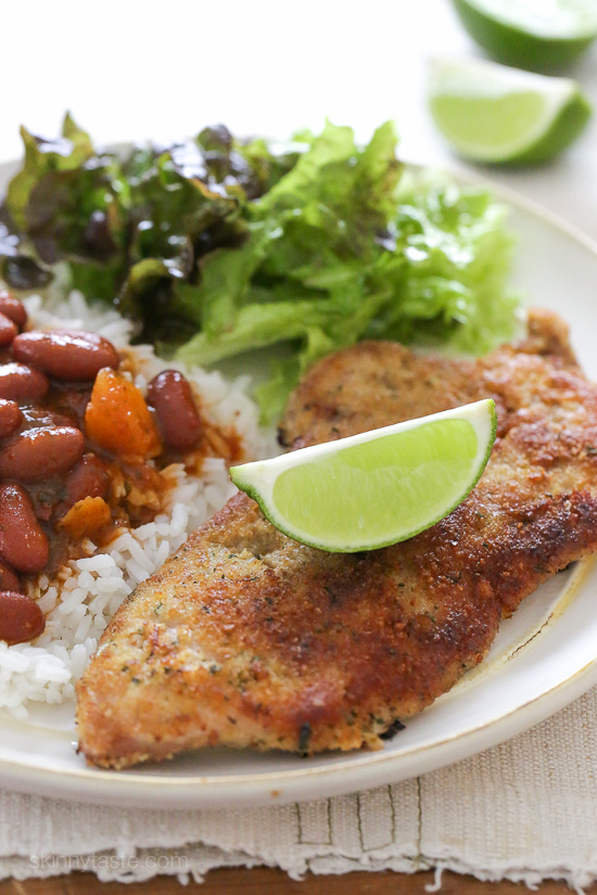Breaded Pork Cutlets with Lime - lightly pan fried, easy to make, and very family friendly! Smart Points: 7 Calories: 216
