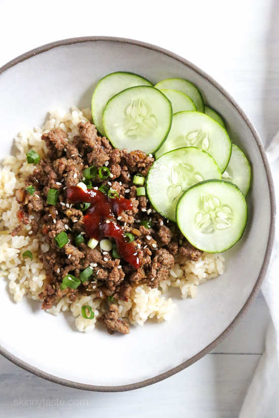Korean Beef Rice Bowls – a quick and easy meal, loaded with flavor for under 400 calories,